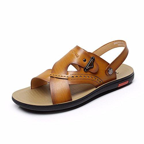 estate Il nuovo Spiaggia scarpa fibra pelle sandali Uomini tendenza traspirante pelle sandali traspirante gioventù ,giallo,US=10,UK=9.5,EU=44,CN=46
