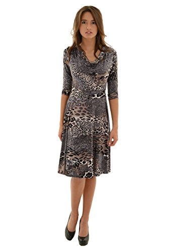 Women's Cowl Neck Leopard Print Dress Empire Waist and 3/4 Sleeves A-Line Dress Sizes: (Animal Print Empire Dress)