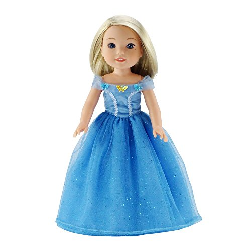 14 Inch Doll Clothes/Clothing | Fabulous Princess Cinderella-Inspired Costume Ball Gown | Fits American Girl Wellie Wishers Dolls
