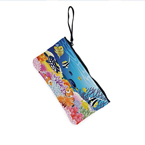 Canvas Coin Purse Zipper Coin Holder Mini Wallet Bags Cosmetic Makeup Bags,Different Kind of Fishes Coral Reefs and Sponges