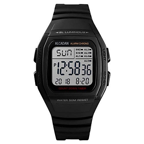 ALCADAN Digital Outdoor Sports Waterproof Watch for Men's and Woman Military Stopwatch Countdown Auto Date Alarm 1278 (Black)