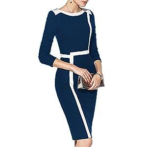 WOOSEA Women's 2/3 Sleeve Colorblock Slim Bodycon Wear To Work Pencil Dress