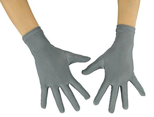 Ensnovo Adult Wrist Length Lycra Spandex Full Finger Stretchy Short Gloves Gray M (Gray Lycra Spandex)