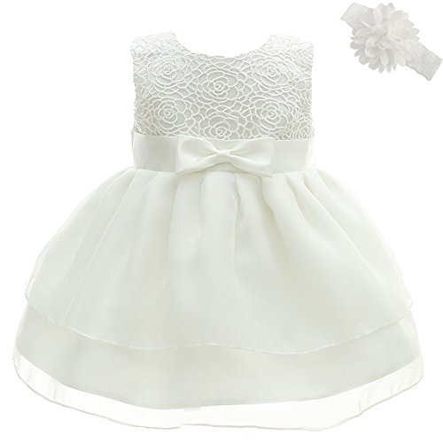 Dream Rover Baby Girl Dress Cristening Baptism Special Occasion Dress, White, 18 months