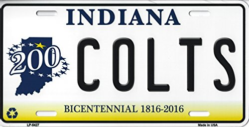 - Colts Indiana State Background Novelty Metal License Plate Tag (Colts Bicentennial)