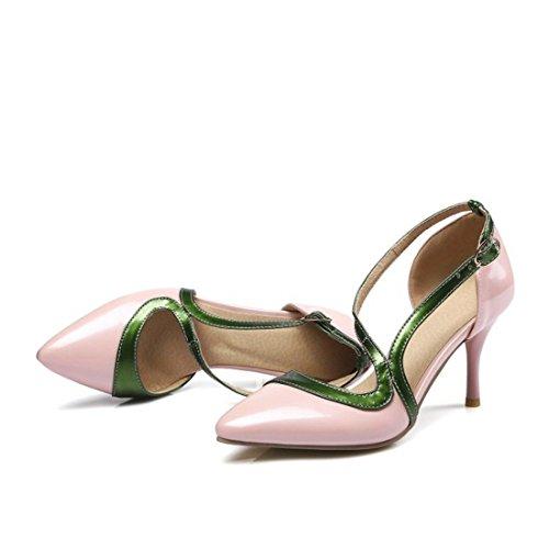 Primavera Mujer Sandalias de de de Mezclado de Bare Verano Fina Punta y AIKAKA Color Puntiagudas Powder Gran Tamaño Zapatos de qAwIxF1KEp