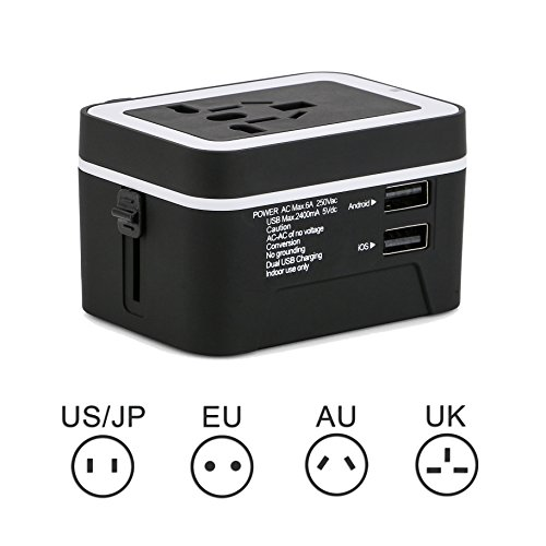 Travel Adapter,Elinker Universal All in One Worldwide Wall Charger AC Power Plug Adapter with Dual USB Charging Ports 2.4A for USA UK EU AUS Covers 150+Countries (Case Included) by Elinker