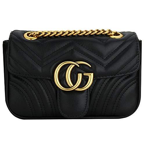 (Women Flap Bag Chain Crossbody Shoulder Bags Purse Fashion Classic Quilted Purse (Black))