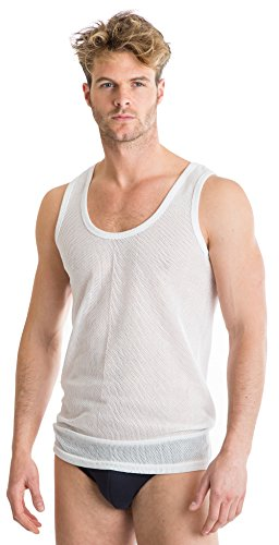 Octave 2 Pack Mens Classic 100% Cotton Eyelet Sleeveless Vest [XXL, White] (Cotton Mesh Tank Top)