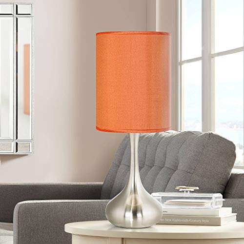(Modern Accent Table Lamp Brushed Steel Droplet Orange Faux Silk Shade for Living Room Family Bedroom Bedside Office - Possini Euro Design )