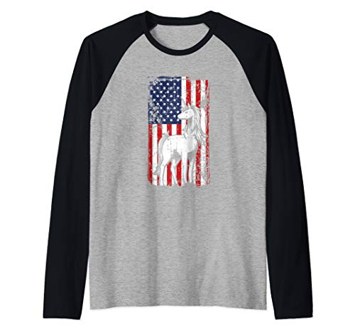 4th of July American Flag Majestic Horse Unicorn Gifts Raglan Baseball Tee