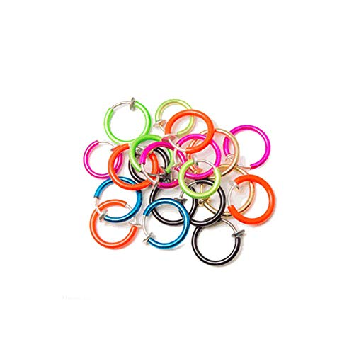 (Lot of 6pc One of Each Color No Holes! Clip on Fake Hoop Body Nose Lip Ear Piercing Ring Stud Earring colors send randomly by EG GIFTS)