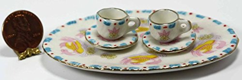 Oversized Pink, Yellow and Blue Teacup and Platter Set   B06XTV1PMB