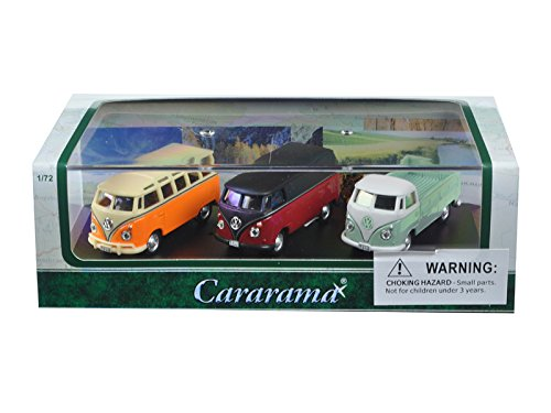 Cararama 71308 1 by 72 Scale Diecast Volkswagen Bus Gift Set in Display Showcase Model Cars, 3 Piece
