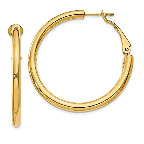 14k Yellow Gold 3x30mm Round Omega Back Hoop Earrings Ear Hoops Set Fine Jewelry Gifts For Women For Her