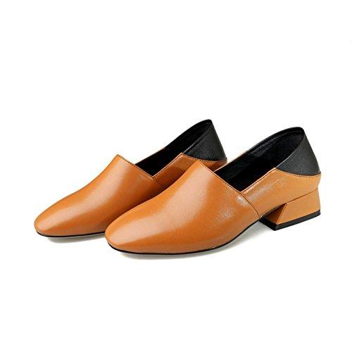 Glisser Cuir Main Talon Décontractée Femmes Faible Chaussures Marchant BROWN Confort Travail Unique Fait en Paresseux EUR35UK3 sur NVXIE Chunky Noir Rugueux a57Yqw5nx