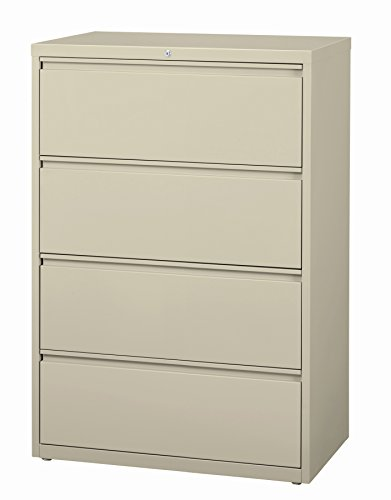 Office Dimensions Commercial 4-Drawer Lateral File with Full Width Pull, 36-Inch Wide, Putty