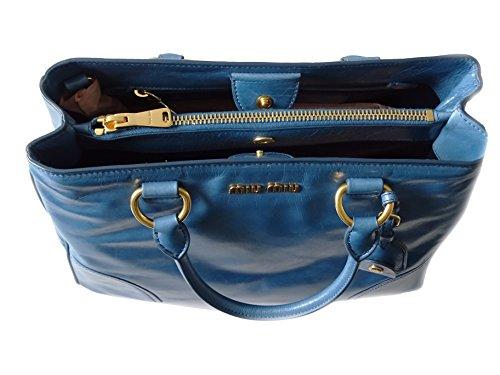 mujer de B piel azul 34cm H 25cm asas Miu becerro de para Miu Bolso de 16cm L Azul q4EBgyzw