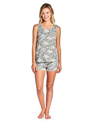 Casual Nights Women's Floral Sleeveless Tank and Pajama Shorts Set - Grey White - Medium