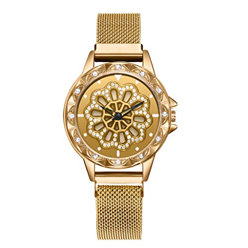 LUCAMORE Luxury Flower Diamond Ladies Watch Mesh Stainless Steel Band Watch Women Rotary Timepiece Female Watch ()