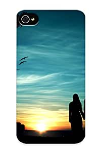 Awesome QTK134BSRfh Fireingrass Defender Tpu Hard Case Cover For Iphone 4/4s- Couple Silhouette In The Sunset