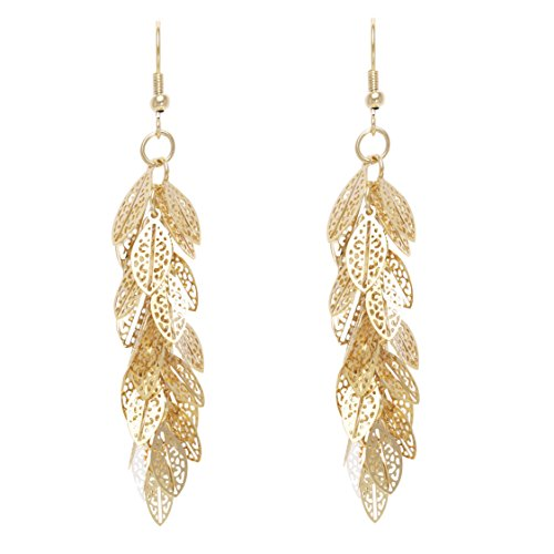 Bohemian Multi Layered Filigree Leaves Dangle Drop Long Statement Earrings