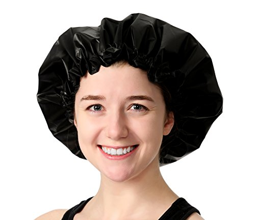 Adjustable Large Shower Cap - The Satin Dream WaterProof ShowerCap By Simply Elegant: The Best in Medium to Long Hair Protection (Patent (Sexy Updo)
