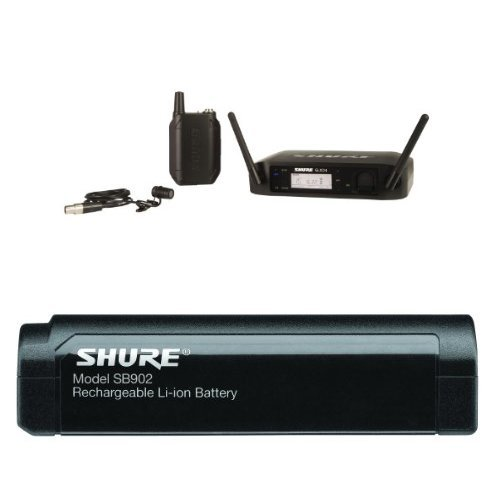 Shure GLXD14/85 Digital Presenter Wireless System with WL185 Lavalier Microphone, Z2 With Shure SB902 Rechargeable Lithium-Ion Battery for GLX-D Bundle