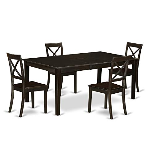 East West Furniture HEBO5-CAP-W 5 Pc Dining Room Set Table with Leaf and 4 Dinette Chairs, Cappuccino