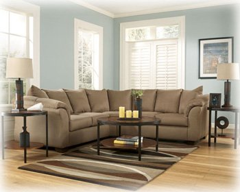 Signature Design by Ashley Darcy Right Arm Facing Loveseat, Mocha