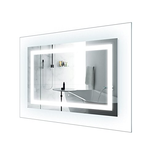LED Lighted 42 Inch x 30 Inch Bathroom Mirror With Glass Frame | Horizontal or Vertical Installation | by Krugg