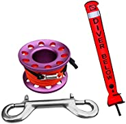 SMB Surface Marker Buoy + Dive Reel Finger Spool - Great for Scuba Diving & Snorkeling - High Visible &
