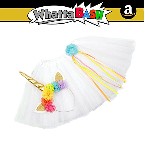 Unicorn Rainbow Horn Headband Tutu Dress Skirt Birthday Party Costume Outfit Set - Unicorn Princess Party Decorations for Girls Supplies Favors Gift - Decoracion De Unicornio para Cumpleaños -