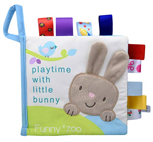 Xiaoyu Soft Fabric Baby Cloth Books Early Education Toys Activity Crinkle Cloth Book, Perfect for Baby Shower Gift, Bedtime Story, Bunny