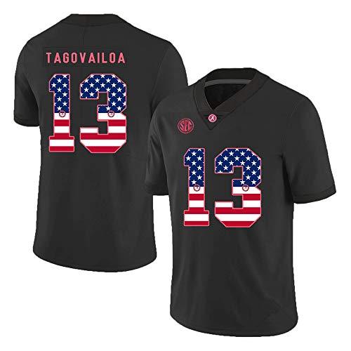 Nonuryhunt Men Tua_#13_Tagovailoa_Alabama_Crimson_Tide_Black_USA_Flag_Jersey