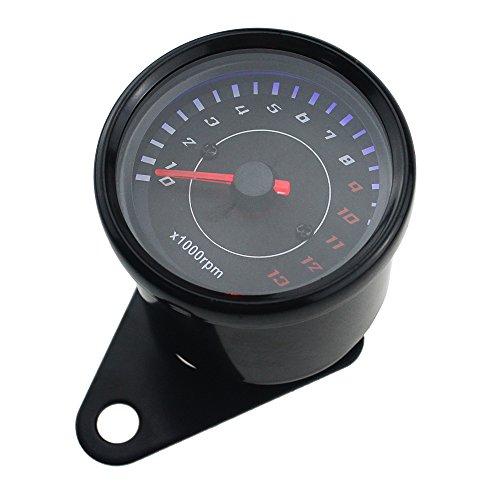 Ambuker black LED Backlight Motorcycle Meter Tachometer Gauge Rev Counter 0-13000 RPM ()