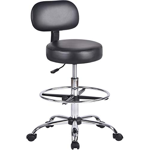 Urest Round Drafting Chair Height Adjustable Tall Rolling Swivel Stool with Wheels