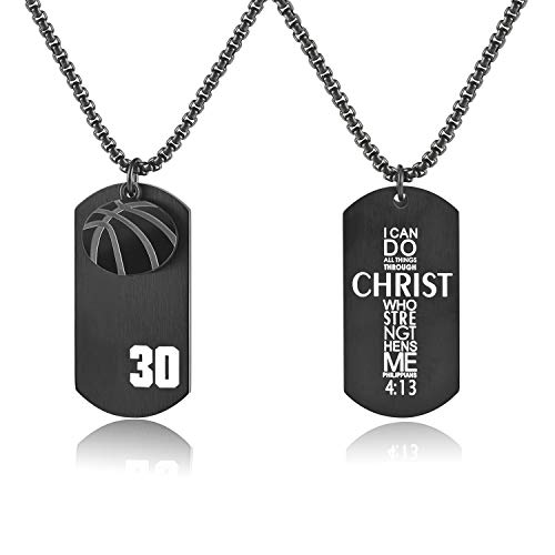 - VI.SPORT Dog Tag Pendant Player Number 30 Basketball Necklace,Religious Verse I Can Do All Things Jewelry (Black)