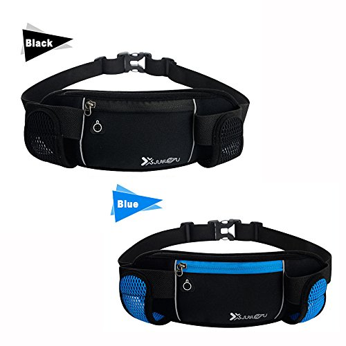 EastDeals Running Belt with 2 Water Bottles,Fits iPhone 8,7,6s and other Smartphones Multifunctional Zipper Pockets Water Resistant Runner's Waist Pack, For Running, Hiking, Cycling, Climbing. (black)