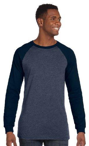 Bella Canvas Contrast Baseball Jersey T-Shirt_Heather Navy/ Midnight_Medium (Baseball Jersey Belle)