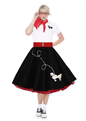 Hip Hop 50s Shop Adult 7 Piece Poodle Skirt Costume Set Black and Red Large