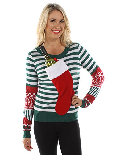 Tipsy Elves Women's Christmas Stocking Tacky Sweater: Medium -