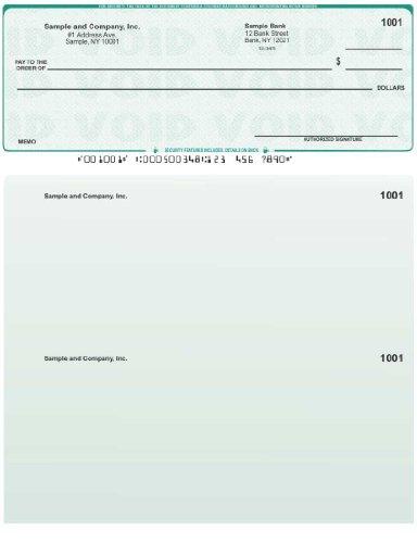 500 Printed Laser Computer Voucher Checks Compatible with Quickbooks - Green - Checks Business Laser