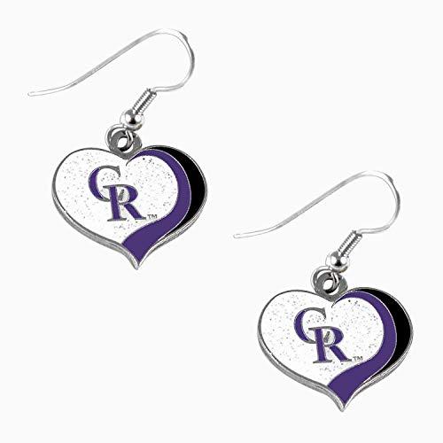 Colorado Rockies MLB Sports Team Logo Glitter Heart Earring Swirl Charm Set (Charm Rockies Colorado)