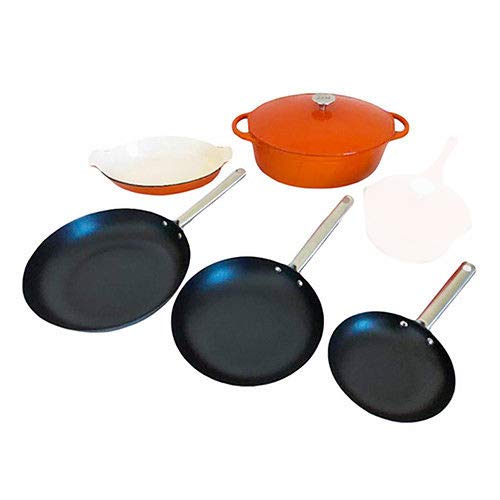 Le Chef 6-Piece All Enameled Cast Iron Cookware Set, (Multi-Colored, ORMB)