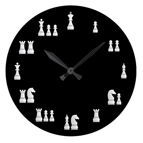 (Moonluna Antique Decoration Clock for Bedroom White Chess Pieces Nursery Large Wood Wall Clock for Bedroom Decor 16 Inch)