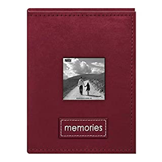 Pioneer Photo Albums 36 Pocket Sewn Raspberry Faux Suede Frame Cover Album with Embroidered Patch Trim for 4 by 6-Inch Prints