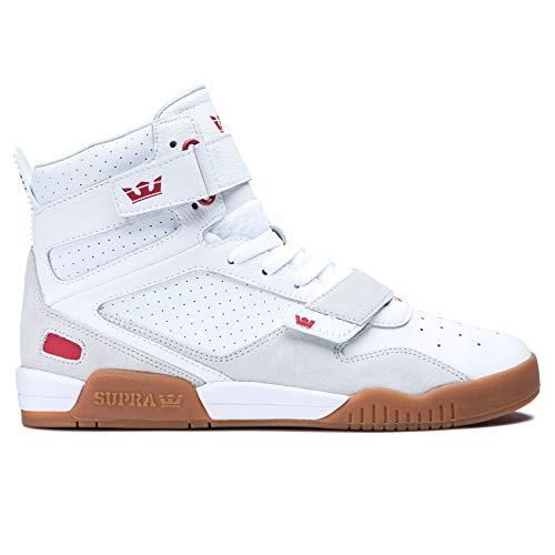 Supra Footwear - Breaker High Top Skate Shoes, White/Rose-Gum, 8 M US Women/6.5 M US Men