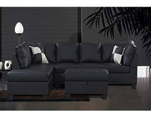 Beverly Furniture Cloudia Polyurethane 3-Piece Sectional Sofa Set with Storage Ottoman, Black