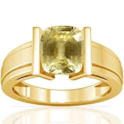 18K Yellow Gold Cushion Cut Yellow Sapphire Men's Ring